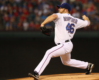 ARLINGTON, TX - SEPTEMBER 28:  Roy Ryan Dempster #46 of the Texas Rangers pitches against the Los Angeles Angels of Anaheim  at Rangers Ballpark in Arlington on September 28, 2012 in Arlington, Texas.  (Photo by Rick Yeatts/Getty Images)