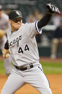 CLEVELAND, OH - OCTOBER 2: Starting pitcher Jake Peavy #44 of the Chicago White Sox pitches during the second inning against the Cleveland Indians at Progressive Field on October 2, 2012 in Cleveland, Ohio. (Photo by Jason Miller/Getty Images)
