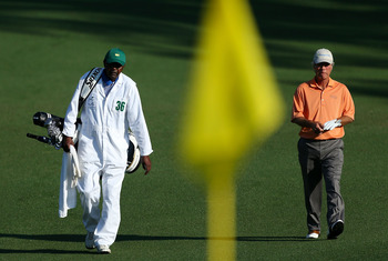 Ben Crenshaw heading toward a green at Augusta National Golf Club.