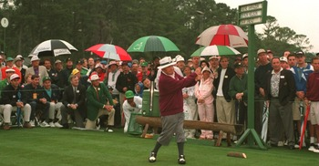 Gene Sarazen performing his duty as as ceremonial starter at the Masters.