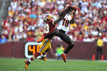 AJ Green catches a pass over DeAngelo Hall at FedEx Field.