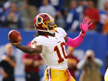 Robert Griffin III sets to throw during an Oct. 21 game against the New York Giants