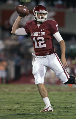 NORMAN, OK - SEPTEMBER 22:  Quarterback Landry Jones #12 of the Oklahoma Sooners looks to throw against the Kansas State Wildcats on September 22, 2012 at Gaylord Family-Oklahoma Memorial Stadium in Norman, Oklahoma. (Photo by Brett Deering/Getty Images)