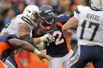 Broncos pass rusher Elvis Dumervil sets his sights on Chargers quarterback Philip Rivers.