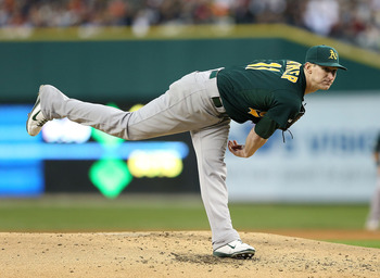 DETROIT, MI - OCTOBER 06:  Jarrod Parker #11 of the Oakland Athletics pitches during the third inning of Game One of the American League Division Series against the Detroit Tigers at Comerica Park on October 6, 2012 in Detroit, Michigan. The Tigers defeat