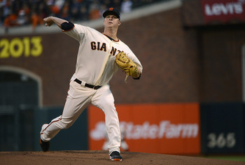 Matt Cain gave up three runs in the first game of the NLDS.