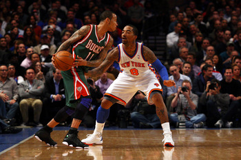 JR Smith playing defense against the Milwaukee Bucks.