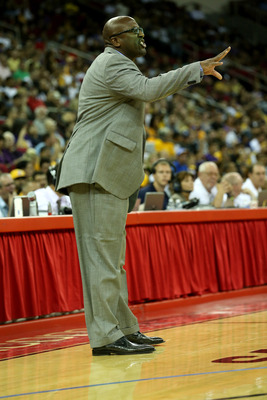 FRESNO, CA - OCTOBER 07: Head coach Mike Brown of the Los Angeles Lakers shouts during the game with the Golden State Warriors at Save Mart Center At Fresno State on October 7, 2012 in Fresno, California.  The Warriors won 110-83.  NOTE TO USER: User expr