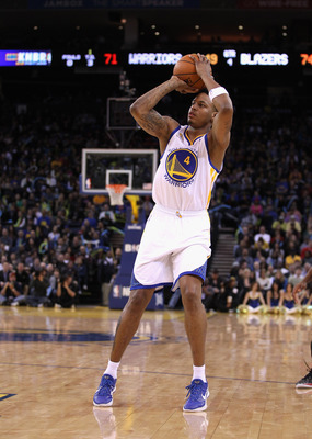 Brandon Rush shoots in a February game against the Portland Trailblazers.