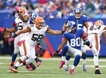 New York Giants wideout Victor Cruz with the ball Week 5 against the Cleveland Browns.