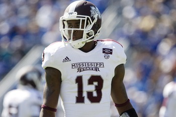 Oct 6, 2012; Lexington, KY, USA; Mississippi State Bulldogs defensive back Johnthan Banks (13) during the game against the Kentucky Wildcats at Commonwealth Stadium. Credit: Mark Zerof-US PRESSWIRE