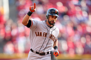 Angel Pagan celebrates a first-inning home run.