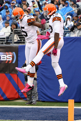 Greg Little (left) and Josh Gordon (right) celebrate following a touchdown last Sunday