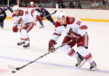 Szwarz flies up the ice in a game between the Kings rookies and the Coyotes rookies