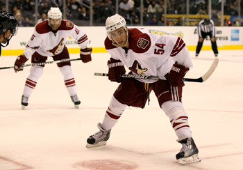 Werek lines up for the face off against the Kings rookies last season.