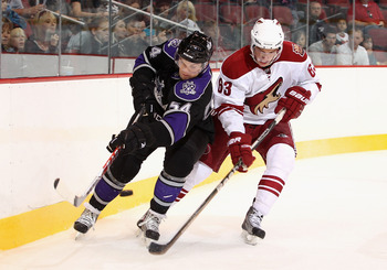 Lane digs in the corner against the Los Angeles Kings in a game that featured the rookies of each team last season