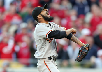 Sergio Romo exults as he gets the final out of the series