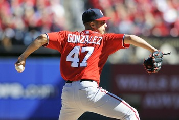 Gio Gonzalez walked seven batters in his playoff debut.