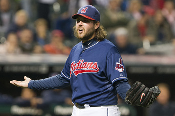 CLEVELAND, OH - OCTOBER 2: Closing pitcher Chris Perez #54 of the Cleveland Indians reacts to hitting Tyler Flowers #17 of the Chicago White Sox with a pitch during the ninth inning at Progressive Field on October 2, 2012 in Cleveland, Ohio. (Photo by Jas