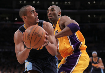 Arron Afflalo challenges Kobe Bryant in Game 5 of Denver's 2012 playoff series against the Lakers.
