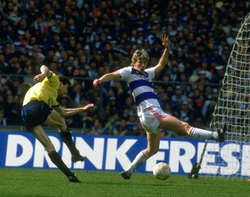 Alan McDonald (right) in action for QPR in 1986.