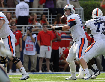 Auburn QB Clint Moseley winds up to pass against Mississippi. Photo credit: Todd Van Emst/Auburn Athletics
