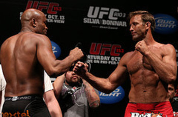 RIO DE JANEIRO, BRAZIL - OCTOBER 12: (L-R) Opponents Anderson Silva and Stephan Bonnar face off during the UFC 153 weigh in at HSBC Arena on October 12, 2012 in Rio de Janeiro, Brazil. (Photo by Josh Hedges/Zuffa LLC/Zuffa LLC via Getty Images)