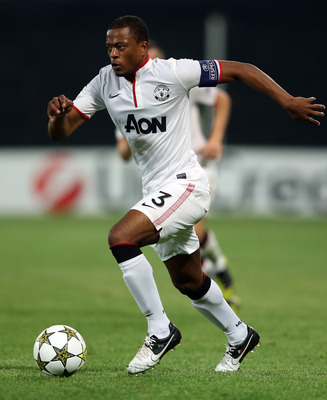 CLUJ-NAPOCA, ROMANIA - OCTOBER 02:  Patrice Evra of Manchester United in action during the UEFA Champions League Group H match between CFR 1907 Cluj and Manchester United at the Constantin Radulescu Stadium on October 2, 2012 in Cluj-Napoca, Romania.  (Ph