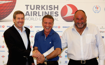 Keith Waters, COO European Tour, Ahmet Agaoglu, Turkish Golf Federation & Chubby Chandler, ISM announce the 2013 Turkish Open