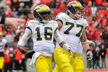 Michigan's Denard Robinson and Taylor Lewan