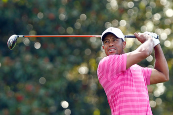 Sept. 21, 2012; Atlanta, GA, USA; Tiger Woods tees off the fifth hole during the second round of the TOUR Championship at East Lake Golf Club. Mandatory Credit: Debby Wong-US PRESSWIRE