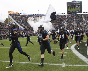 PROVO, UT - OCTOBER 13: BYU Cougars players enter the field before a game against the Oregon State Beavers during at an college football game October 13, 2012 at LaVell Edwards Stadium in Provo, Utah. (Photo by George Frey/Getty Images)