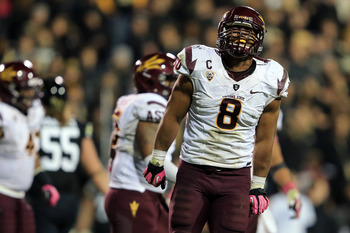 BOULDER, CO - OCTOBER 11:  Linebacker Brandon Magee #8 of the Arizona State Sun Devils plays defense against the Colorado Buffaloes at Folsom Field on October 11, 2012 in Boulder, Colorado. Arizona State defeated Colorado 51-17.  (Photo by Doug Pensinger/