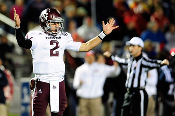 OXFORD, MS - OCTOBER 06:  Johnny Manziel #2 of the Texas A&M Aggies reacts to a call during a game against the Ole Miss Rebels at Vaught-Hemingway Stadium on October 6, 2012 in Oxford, Mississippi.  (Photo by Stacy Revere/Getty Images)