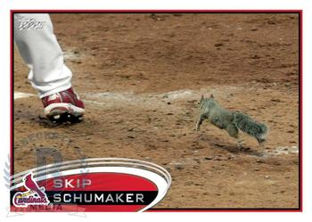 Skip Schumarker's baseball card produced by Topps only shows his foot as the Rally Squirrel takes center stage. Photo Credit: Tampa Bay Online
