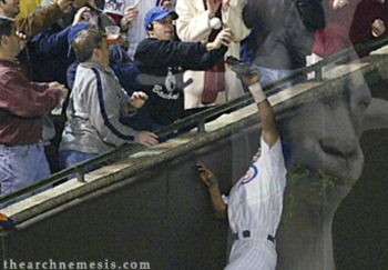 Steve Bartman's fan interferance during the 2003 NLCS is the most dramatic example of how the Curse of the Billy Goat lives on. Photo Credit: TheArchNemesis.com
