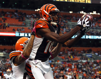CLEVELAND, OH - OCTOBER 14:  Wide receiver A.J. Green #18 of the Cincinnati Bengals catches a pass in front of defensive back Joe Haden #23 of the Cleveland Browns at Cleveland Browns Stadium on October 14, 2012 in Cleveland, Ohio.  (Photo by Matt Sulliva