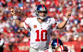 SAN FRANCISCO, CA - OCTOBER 14:  Quarterback Eli Manning #10 of the New York Giants calls signals against the San Francisco 49ers at Candlestick Park on October 14, 2012 in San Francisco, California. The Giants won 26-3.  (Photo by Stephen Dunn/Getty Imag
