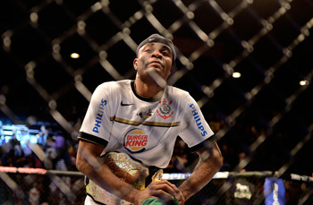 Jul. 7, 2012; Las Vegas, NV, USA; UFC fighter Anderson Silva celebrates after defeating Chael Sonnen during a middleweight bout in UFC 148 at the MGM Grand Garden Arena. Mandatory Credit: Mark J. Rebilas-US PRESSWIRE