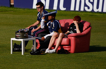 CHESTER-LE-STREET, ENGLAND - JUNE 18: Lucky spectators get a sofa to view proceedings during the Friends Provident T20 match between Durham and Yorkshire at the Riverside on June 18, 2010 in Chester-Le-Street, England.  (Photo by Stu Forster/Getty Images)