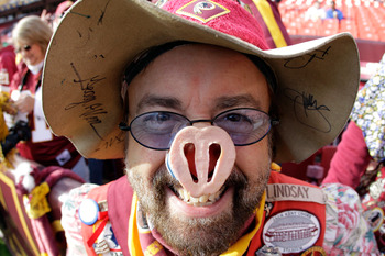 LANDOVER, MD - DECEMBER 04:  Washington Redskins fan Bruce Lindsay poses for a photo before the start of the Redskins game against the New York Jets at FedExField on December 4, 2011 in Landover, Maryland.  (Photo by Rob Carr/Getty Images)