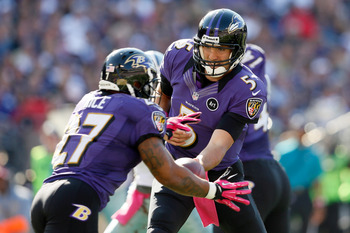 Joe Flacco handing the ball off to his star running back Ray Rice.