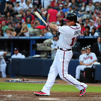 ATLANTA, GA - OCTOBER 5: Chipper Jones #10 of the Atlanta Braves hits against the St. Louis Cardinals during the National League Wild Card Game at Turner Field on October 5, 2012 in Atlanta, Georgia. (Photo by Scott Cunningham/Getty Images)