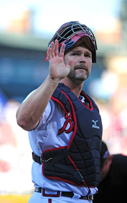 ATLANTA, GA - OCTOBER 5: David Ross #8 of the Atlanta Braves acknowledges the crowd against the St. Louis Cardinals during the National League Wild Card Game at Turner Field on October 5, 2012 in Atlanta, Georgia. (Photo by Scott Cunningham/Getty Images)