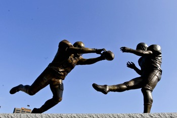 October 7, 2012; New Orleans, LA, USA; A statue titled Rebirth featuring the likeness of former New Orleans Saints safety Steve Gleason blocking a punt by former Atlanta Falcons punter Michael Koenen on September 25, 2006 as seen outside before a game aga