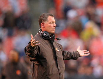 Oct 14, 2012; Cleveland, OH, USA; Cleveland Browns head coach Pat Shurmur raising his arms during the fourth quarter against the Cincinnati Bengals at Cleveland Browns Stadium. Browns beat the Bengals 34-24. Mandatory Credit: Raj Mehta-US PRESSWIRE