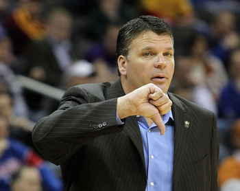 KANSAS CITY, MO - MARCH 10:  Head coach Greg McDermott of the Iowa State Cyclones gives a thumbs down in the first half against the Texas Longhorns during the first round game of the 2010 Phillips 66 Big 12 Men's Basketball Tournament at the Sprint Center