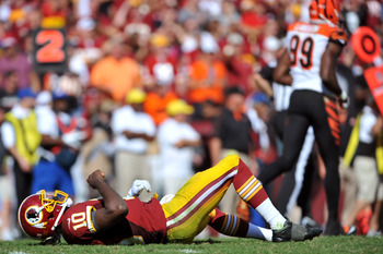RGIII could see a lot of time on his back this weekend facing a D-Line like none he has ever faced.