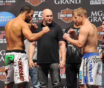 LAS VEGAS - MAY 28:  UFC fighter Antonio Rogerio Nogueira (L) faces off against UFC fighter Jason Brilz (R) at UFC 114: Rampage versus Rashad at the Mandalay Bay Hotel on May 28, 2010 in Las Vegas, Nevada.  (Photo by Jon Kopaloff/Getty Images)