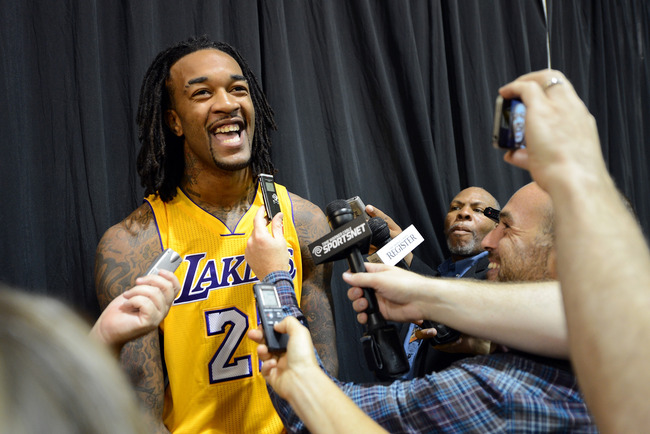 EL SEGUNDO, CA - OCTOBER 01:  Jordan Hill #27 of the Los Angeles Lakers laughs as he answers questions from the media during Media Day at Toyota Sports Center on October 1, 2012 in El Segundo, California.  (Photo by Harry How/Getty Images)